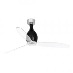 MINI ETERFAN Ventilador de techo negro brillo/transparente con motor DC