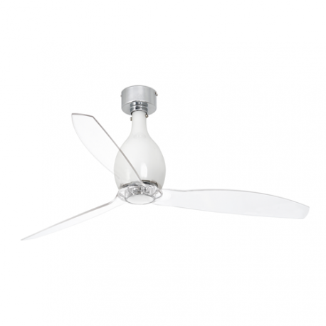 MINI ETERFAN Ventilador de techo blanco brillo/transparente con motor DC