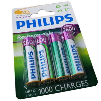 Pilas Recargables AA NiMH 2600mAh Philips pack 4 uds