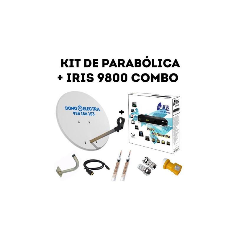 Kit Parabólica + Receptor Satélite Iris 9800 COMBO + 15 metros de cable