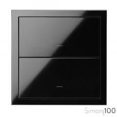 Kit front para 1 elemento con 2 teclas negro Simon 100