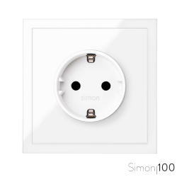 Kit front para 1 elemento con 1 base de enchufe schuko blanco | Simon 100