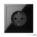 Kit front para 1 elemento con 1 base de enchufe schuko negro | Simon 100