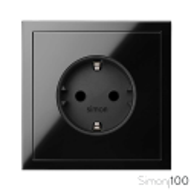 Kit front para 1 elemento con 1 base de enchufe schuko negro Simon 100