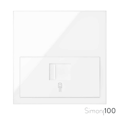 Kit front para 1 elemento con 1 adaptador informático RJ45 6 UTP con adaptador blanco Simon 100