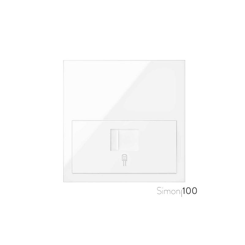 Kit front para 1 elemento con 1 adaptador informático RJ45 6 UTP con adaptador blanco | Simon 100
