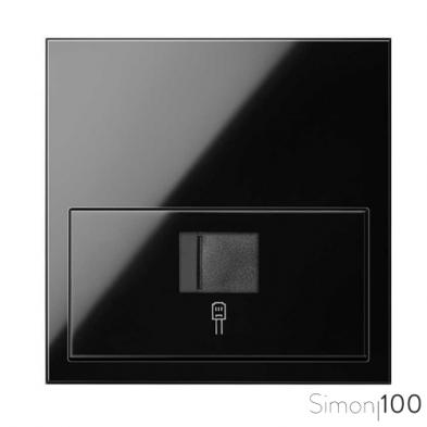 Kit front para 1 elemento con 1 conector informático RJ45 6 UTP con adaptador negro Simon 100