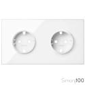 Kit front para 2 elementos con 2 bases enchufe schuko blanco | Simon 100