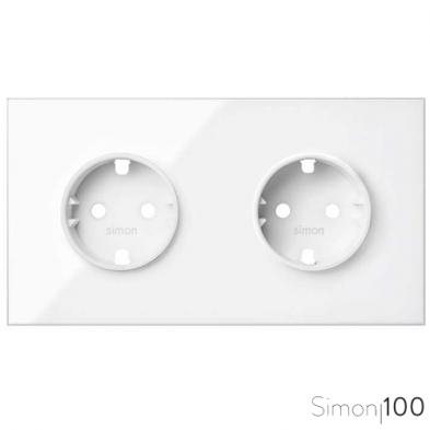 Kit front para 2 elementos con 2 bases enchufe schuko blanco Simon 100