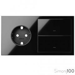 Kit front 2 elementos 1 base de enchufe schuko + 2 teclas negro | Simon 100
