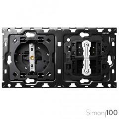 Kit back para 2 elementos con 1 base de enchufe schuko y 2 conmutadores pulsante Simon 100