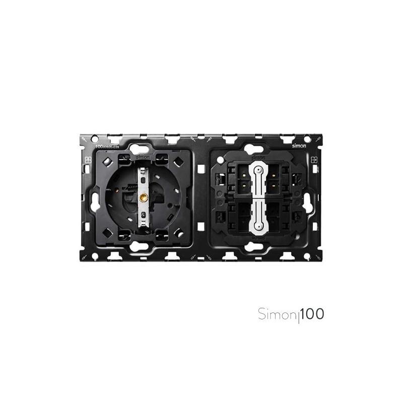Kit back para 2 elementos con 1 base de enchufe schuko y 2 conmutadores pulsante | Simon 100