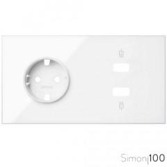 Kit front para 2 elementos con 1 cargador 2xUSB y 1 base de enchufo schuko blanco | Simon 100