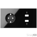 Kit front para 2 elementos con 1 cargador 2xUSB y 1 base de enchufe schuko negro| Simon 100