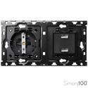 Kit back para 2 elementos con 1 cargador 2xUSB y 1 base de enchufe schuko Simon 100