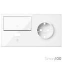 Kit front para 2 elementos con 1 tecla 1 cargador USB y 1 base de enchufe schuko blanco | Simon 100