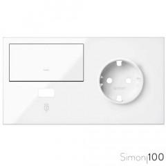 Kit front para 2 elementos con 1 tecla 1 cargador USB y 1 base de enchufe schuko blanco Simon 100