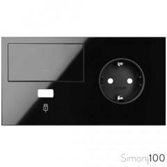Kit front para 2 elementos con 1 tecla 1 cargador USB y 1 base de enchufe schuko negro| Simon 100