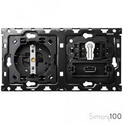 Kit back para 2 elementos con 1 base de enchufe schuko 1 cruzamiento pulsante y 1 cargador USB Simon 100