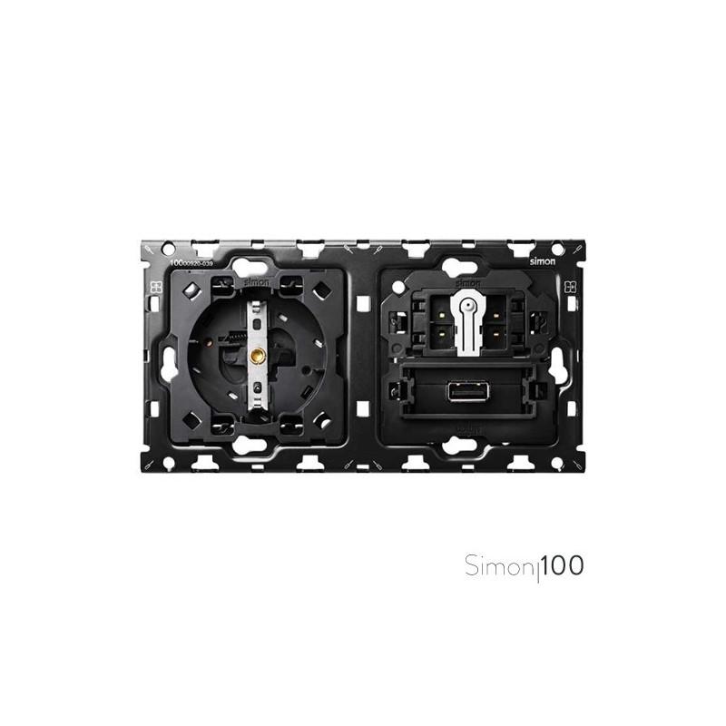 Kit back para 2 elementos con 1 base de enchufe schuko 1 cruzamiento pulsante y 1 cargador USB | Simon 100