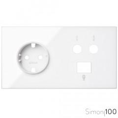 Kit front para 2 elementos con 1 base de enchufe schuko 1 toma R-TV+SAT única con 1 conector RJ45 6 UTP blanco Simon 100