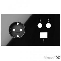 Kit front para 2 elementos con 1 base de enchufe schuko 1 toma R-TV+SAT única 1 conector RJ45 6 UTP negro | Simon 100