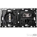 Kit back para 2 elementos con 1 base de enchufe schuko 1 toma R-TV+SAT única con 1 conector RJ45 6 UTP | Simon 100