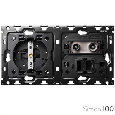Kit back para 2 elementos con 1 base de enchufe schuko 1 toma R-TV+SAT única con 1 conector RJ45 6 UTP Simon 100