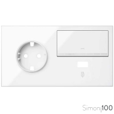 Kit front para 2 elementos con 1 base enchufe schuko 1 tecla y 1 cargador USB blanco | SImon 100