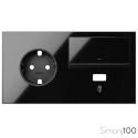 Kit front para 2 elementos con 1 base enchufe schuko 1 tecla y 1 cargador USB negro| Simon 100