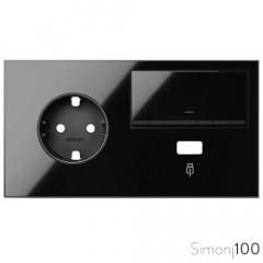 Kit front para 2 elementos con 1 base enchufe schuko 1 tecla y 1 cargador USB negro Simon 100