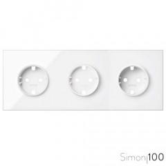 Kit front para 3 elementos con 3 bases de enchufe schuko blanco Simon 100