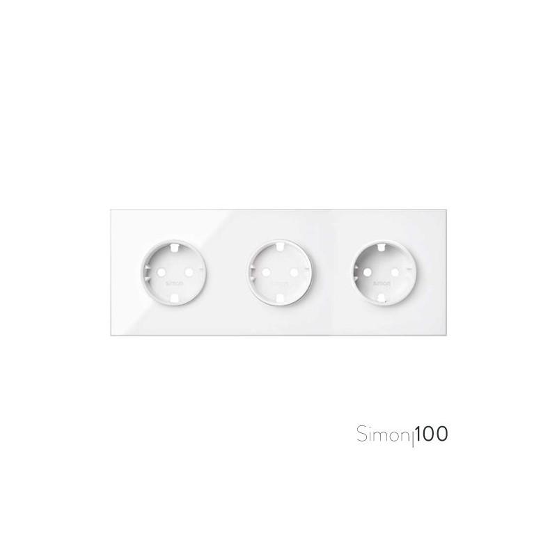 Kit front para 3 elementos con 3 bases de enchufe schuko blanco | Simon 100