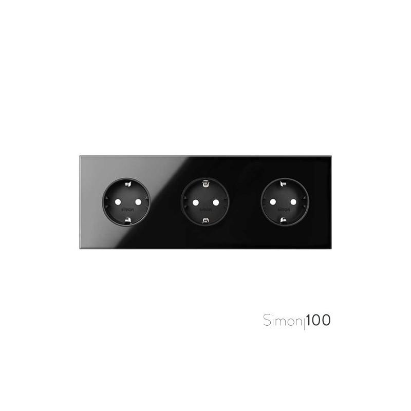Kit front para 3 elementos con 3 bases de enchufe schuko negro | Simon 100
