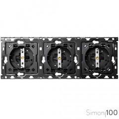 Kit back para 3 elementos con 3 bases de enchufe schuko | Simon 100