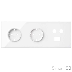 Kit front para 3 elementos con 2 bases de enchufe schuko y 1 toma R-TV+SAT única con 1 conector RJ45 blanco Simon 100