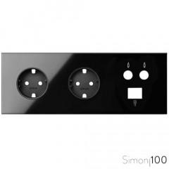 Kit front para 3 elementos con 2 bases de enchufe schuko y 1 toma R-TV+SAT única con 1 conector RJ45 negro Simon 100