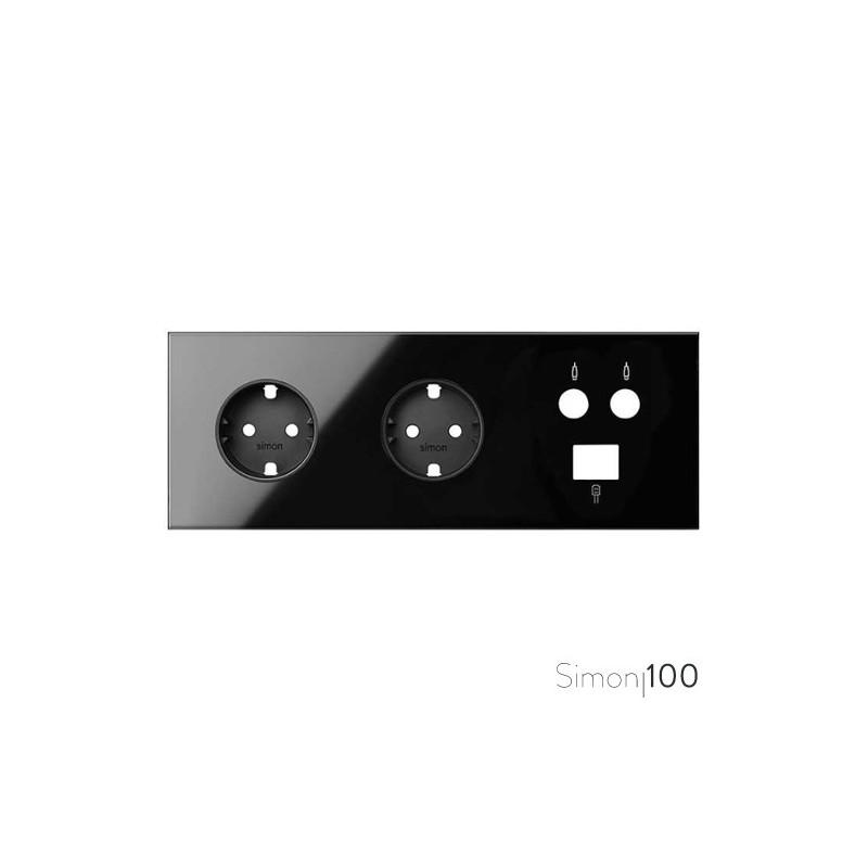 Kit front para 3 elementos con 2 bases de enchufe schuko y 1 toma R-TV+SAT única con 1 conector RJ45 negro | Simon 100