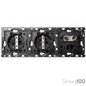 Kit back para 3 elementos con 2 bases de enchufe schuko y 1 toma R-TV+SAT única con 1 conector RJ45 | Simon 100