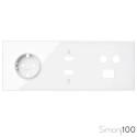 Kit front para 3 elementos con 1 base de enchufe schuko, 1 conector HDMI + USB y 1 toma de R-TV+SAT única blanco | Simon 100