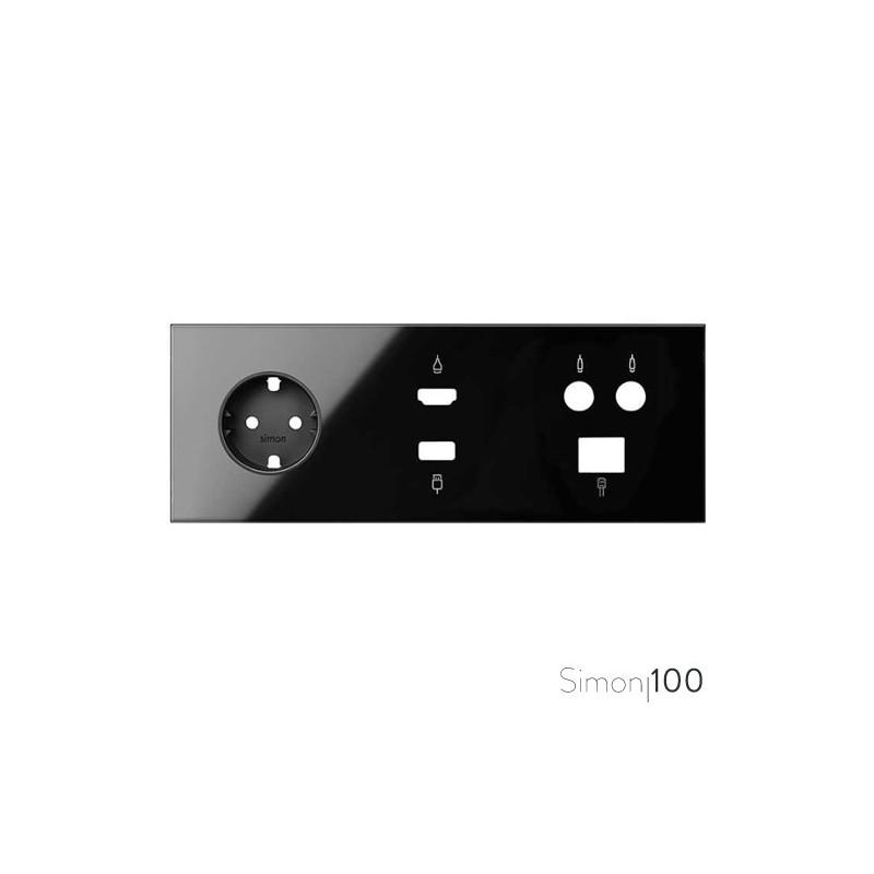 Kit front para 3 elementos con 1 base de enchufe schuko, 1 conector HDMI + USB y 1 toma TV+SAT única negro | Simon 100