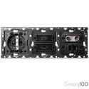 Kit back para 3 elementos con 1 base de enchufe schuko 1 conector HDMI + USB y 1 toma de R-TV+SAT única | Simon 100