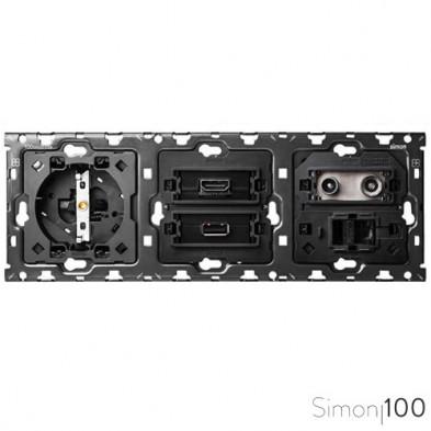 Kit back para 3 elementos con 1 base de enchufe schuko 1 conector HDMI + USB y 1 toma de R-TV+SAT única Simon 100