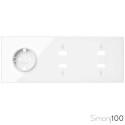 Kit front para 3 elementos con 1 base de enchufe schuko y 2 conectores HDMI + USB blanco | Simon 100