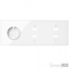 Kit front para 3 elementos con 1 base de enchufe schuko y 2 conectores HDMI + USB blanco Simon 100