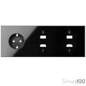 Kit front para 3 elementos con 1 base de enchufe schuko y 2 conectores HDMI + USB negro| Simon 100