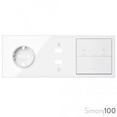Kit front para 3 elementos con 1 enchufe schuko 1 cargador 2xUSB, 1 tecla persianas y 1 tecla blanco | Simon 100