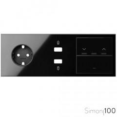 Kit front para 3 elementos con 1 enchufe schuko 1 cargador 2xUSB 1 tecla persianas 1 tecla negro | Simon 100