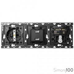 Kit back 3 elementos con 1 enchufe schuko 1 cargador 2xUSB 1 interruptor persianas IO y 1 conmutador pulsante Simon 100
