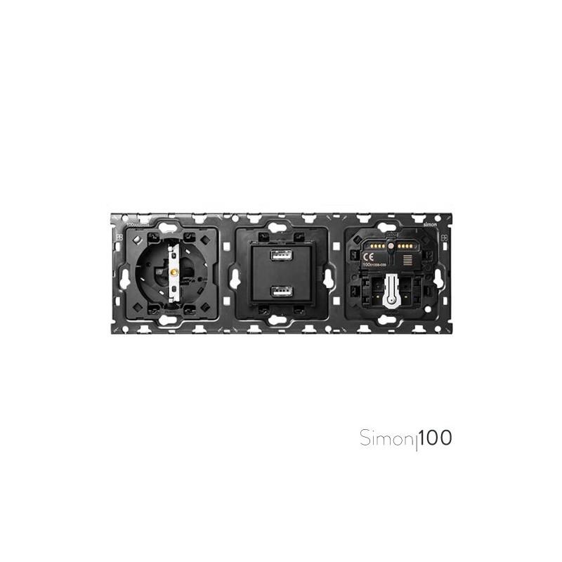 Kit back 3 elementos con 1 enchufe schuko 1 cargador 2xUSB 1 interruptor persianas IO y 1 cruzamiento pulsante | Simon 100